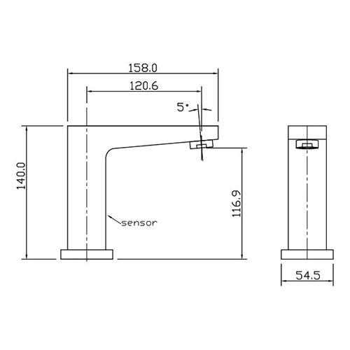 EB-100SF47 Capacitive Sensor Faucet Size
